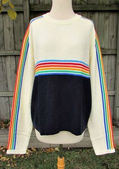 Vintage 70s mens ivory navy rainbow stripe sweater xl  gimbels store for men  ski sweater