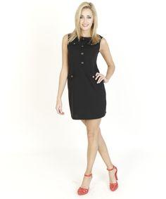 Black Dresses - Retro Ponte Button Shift Black Dress - http://www.blackdresses.co.uk