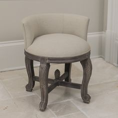 Shop for Perla European Cream Upholstery and Aged-Finish Wood Vanity Chair. Get free delivery On EVERYTHING* Overstock - Your Online Furniture Store! Bathroom Vanity Chair, Vanity Stool, Wood Vanity, Bathroom Furniture, Vanity Chairs, Desk Stool, Antique Vanity, Bathroom Ideas, Teal Dining Chairs