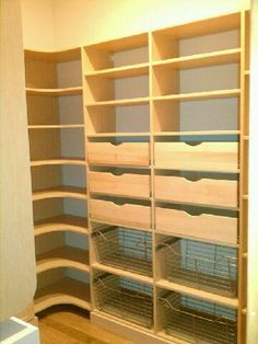 Closet Creations drawers are really functional in a pantry!