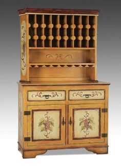 """Paint-decorated buffet, with wine rack, 80""""h : Lot 190"""