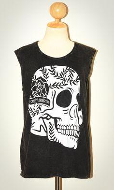 Rose Skull I Can't Stop Loving You Halloween Bleached Black Sleeveless Art Punk Rock T-Shirt Size L