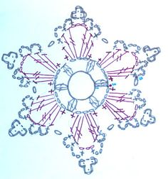 Scheme or pattern for a small crochet star ornament