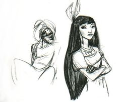 "ofthewiind:  THIS IS MY FAVORITE POCAHONTAS CONCEPT ART BY GLEN KEANE.  ALADDIN IS JUST…THERE….LIKE ""HAY GURL HAYYY"" & POCAHONTAS LOOKS 100% DONE WITH HIS SHIT.#screaming"