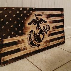 Wooden Marine Flag by RYOBI Nation member Fezz. Visit RYOBI Nation for more pictures of this beautiful piece of craftsmanship! Wooden Pallet Projects, Wooden Pallet Furniture, Pallet Crafts, Pallet Art, Wooden Crafts, Wooden Pallets, Pallet Ideas, Pallet Benches, Pallet Tables