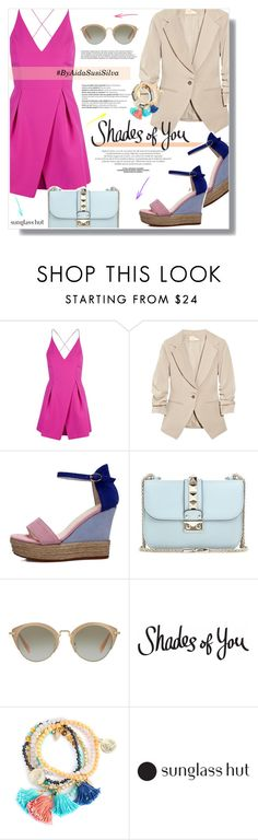 """Shades of You: Sunglass Hut Contest Entry"" by aidasusisilva ❤ liked on Polyvore featuring Topshop, Elizabeth and James, Valentino, Miu Miu, Balmain and shadesofyou"