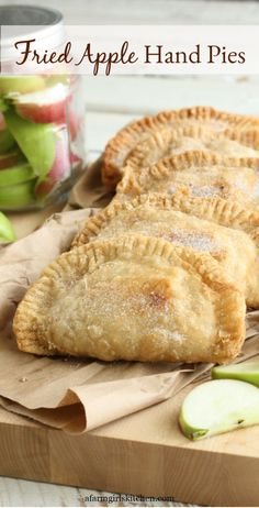 These Fried Apple Hand Pies are made with homemade apple pie filling pie crust or refrigerated biscuit dough. Make these fried apple pies the day before and fry them up fresh in the morning for a wonderful treat! (ALSO freezer friendly! Apple Hand Pies, Fried Apple Pies, Fried Pies, Pecan Pies, Fried Fruit Pies Recipe, Homemade Apple Pie Filling, Homemade Pie Crusts, Pie Crust Recipes, Apple Pie Recipes