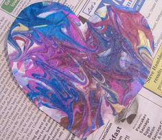 Marbled shaving cream valentines