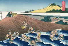 千絵の海 絹川はちふせ - Katsushika Hokusai,Basket - Fishing in the Kinu river (Kinugawa Hachifuse) c 1832