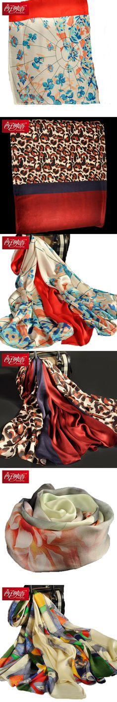 Echarpes Foulard Bandana Scarf Chinese 100% Pure Silk Scarves and Wraps Luxury Brand Shawl Female Pashmina and Wraps Hijab