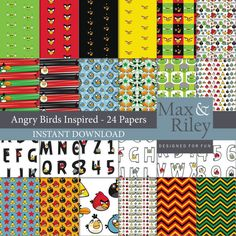 24 Angry Birds Inspired Digital Paper pack INSTANT DOWNLOAD for scrapbooking, card making, digital scrapbooking, stripes, chevron paper