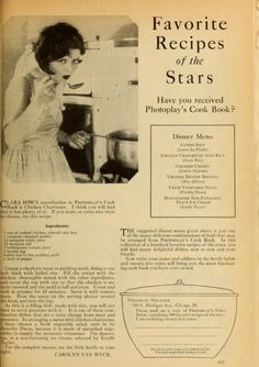 """Favorite recipes of the stars"" (Photoplay)"