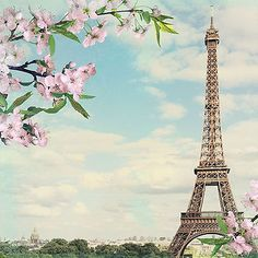 SPRING IN PARIS 12x12 Scrapbooking (2) Papers EIFFEL TOWER