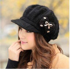 #0702 women beanies Autumn winter Bowknot Rabbit fur hat Knitting cap winter caps fashion vogue women's hats homies Bone