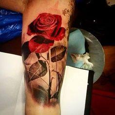 Red Rose with Stem tattoo #Tattoo, #Tattooed, #Tattoos