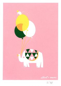 Balloon & Elephant  5x7 Screen Print by AlbertandMarie on Etsy, $12.00