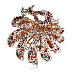 Swarovski Color Crystal Peacock Brooch
