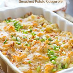 Sour Cream And Onion Smashed Potato Casserole Recipe Side Dishes with red potato, salt, butter, light cream, sour cream, garlic salt, garlic powder, onion powder, black pepper, paprika, sharp white cheddar cheese, green onions