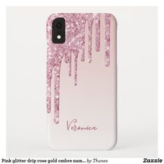 Pink glitter drip rose gold ombre name girly iPhone XR case