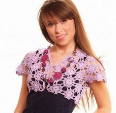 Grace y todo en Crochet: Shrug with beautiful purple flowers .....Torera co...