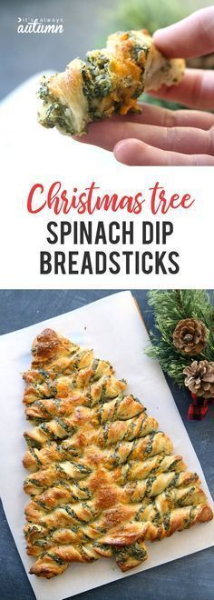This is such a cute holiday appetizer idea! Breadsticks stuffed with spinach dip in the shape of a Christmas tree.