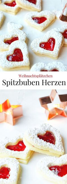 Spitzbuben Herzen mit Johannisbeergelee Christmas cookies: Recipe Spitzbuben hearts with currant jelly # biscuit baking Chocolate Cookie Recipes, Easy Cookie Recipes, Chocolate Chip Cookies, Vegan Chocolate, Chocolate Cake, Cake Mix Recipes, Cupcake Recipes, Dessert Recipes, Cheesecake Recipes