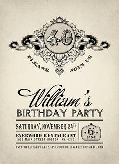 Printable Vintage Birthday Party Invitation Adult by plpapers