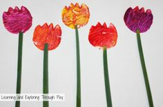 Use your left over potatoes to create some colourful Tulips with your kids. A cute Spring craft that can be used to decorate card fronts for Mothers Day too!
