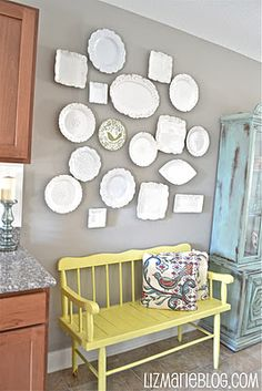 """Eclectic plate wall- appeared on """"Secrets from a Stylist"""" with Emily Henderson."""