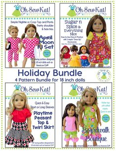 Special HOLIDAY bundle of four PDF sewing patterns by Oh Sew Kat!  I used these four patterns to create a beautiful set of doll clothes for an Angel Tree donation at my daughters high school. See more at www.ohsewkat.com. Included are pieces and directions for two shirts, one halter top, one dress, one skirt, two pants, as well as accessories such as overskirt, apron, tutu, cape, and corset. Use these pieces in mutiple combinations for even more looks!  This listing is for (4) PDF sewing…