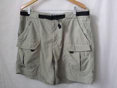 Columbia Mens Shorts 40 Tan Khaki 100% Nylon with Belt and Zipper Pockets #Columbia #CasualShorts