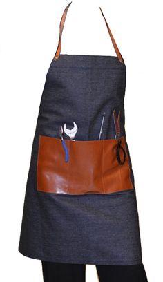 Mens apron, denim apron, leather apron, denim and leather apron, men's apron