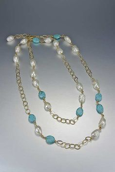 turquoise, freshwater pearls and gold filled chain