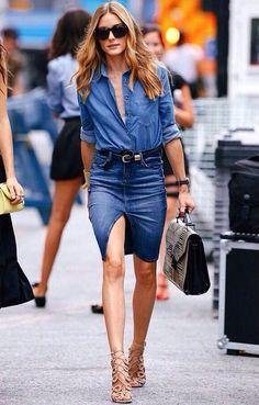 Denim on denim in a classic shape, denim pencil skirt, chambray shirt, cage heels, looped belt, top handle bag