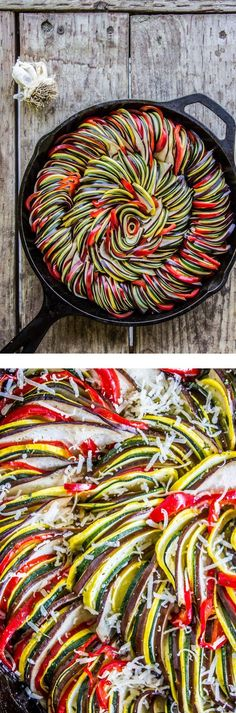 Roasted Garlic Ratatouille from The Food Charlatan // Tons of flavor! Roasted garlic sauce is covered in paper-thin spiced vegetables. This would be perfect for an impressive summer dinner or appetizer! - Food And Drink For You Vegetable Recipes, Vegetarian Recipes, Cooking Recipes, Healthy Recipes, Garlic Recipes, Bacon Recipes, Avocado Recipes, Think Food, I Love Food