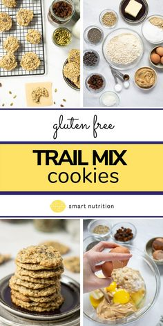 A healthier twist on the classic Monster cookie! Nuts and seeds abound in this soft and chewy cookie! #trailmix #cookies #healthycookies #healthybaking #healthytreats #glutenfreerecipes #glutenfreecookies #cookiesrecipes #oatmealcookies #peanutbuttercookies #oatmealraisincookies #chewycookies Gluten Free Cookies, Healthy Cookies, Healthy Treats, Healthy Baking, Delicious Recipes, Yummy Food, Healthy Recipes, Fun Desserts, Dessert Recipes