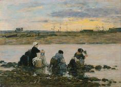 Eugène Boudin, lavanderas en el río, 1880