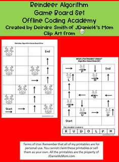 This set is $1.99 on my TPT site. It has 32 pages that explore building algorithms. Children can build algorithms around reindeer or to spell reindeer names. It would be great to work on during the Hour of Code or before Christmas. #HourofCode #coding #reindeer #reindeernames #algorithm #jdaniel4smom Science Activities, Activities For Kids, Professor, Mom Clips, Coding Academy, Reindeer Names, Fun Crafts For Kids, Board Games, About Me Blog