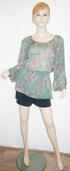 BCBG MAXAZRIA 100% Silk Abstract Artsy Sheer Burnout Slit Sleeve Tunic Top 2XS....http://stores.shop.ebay.com/vintagefluxed