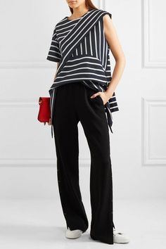 Goen J - Asymmetric Striped Cotton-blend Top - Navy