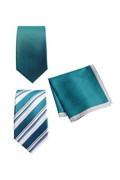 Buy Teal And Silver Stripe Ties Two Pack With Matching Pocket Hanky from the Next UK online shop