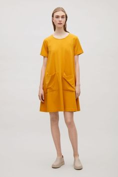 COS image 1 of A-line jersey dress in Yellow
