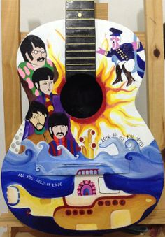 hand painted guitar Beatles Yellow submarine by worldincolour, $250.00