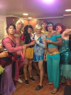 Best group Halloween costume EVER!!! I just can't stop laughing...Jasmine's tat, Snow Whites short skirt and Mulan? OMG!