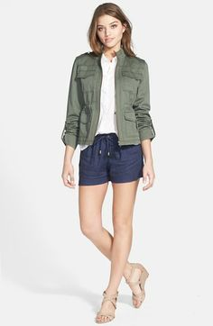Caslon Roll Sleeve Utility Jacket available at #Nordstrom