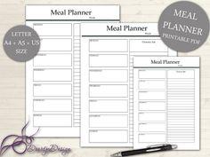 Printable Meal Planner, Meal Planner Printable, Weekly Menu Plan, Planner Pages Meal, Meal Planner, Shopping list, A4 US, INSTANT DOWNLOAD
