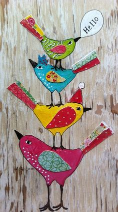 Uploaded by ProCamera by juliastuff, via Flickr.  Whimsical painted & collage birds. #totem