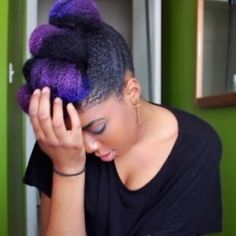 This Purple hair Dyed Natural Hair, Natural Hair Tips, Natural Hair Styles, Purple Natural Hair, Natural Afro Hairstyles, Cool Hairstyles, Black Hairstyles, Urban Hairstyles, Natural Hair Inspiration