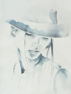 Woman in hat watercolor painting original от JuniperPaintings
