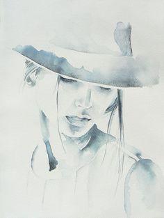 Woman in hat watercolor painting original от JuniperPaintings